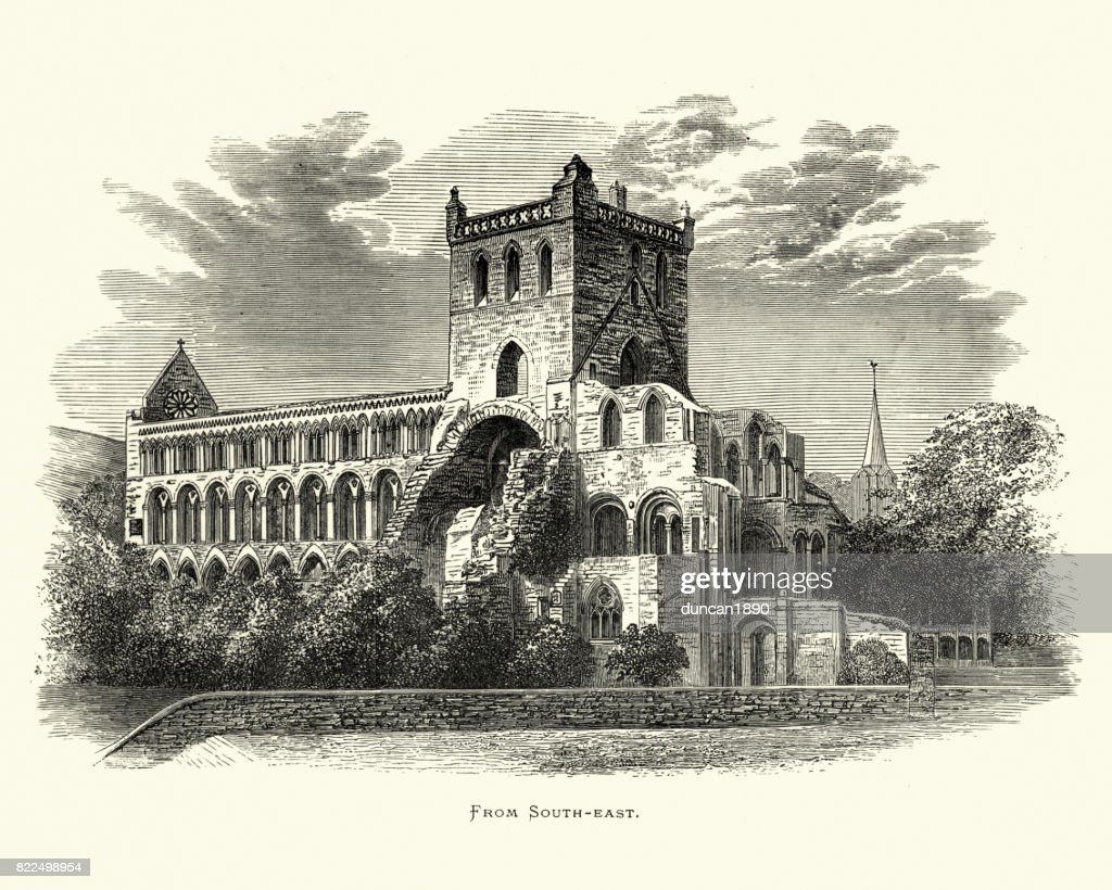 Jedburgh Abbey, from South East, Scotland, 19th Century : stock illustration