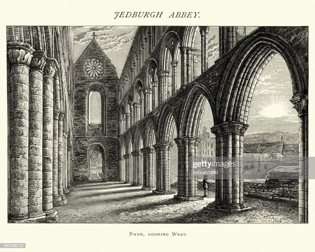 Jedburgh Abbey, Nave looking west, Scotland, 19th Century : stock illustration