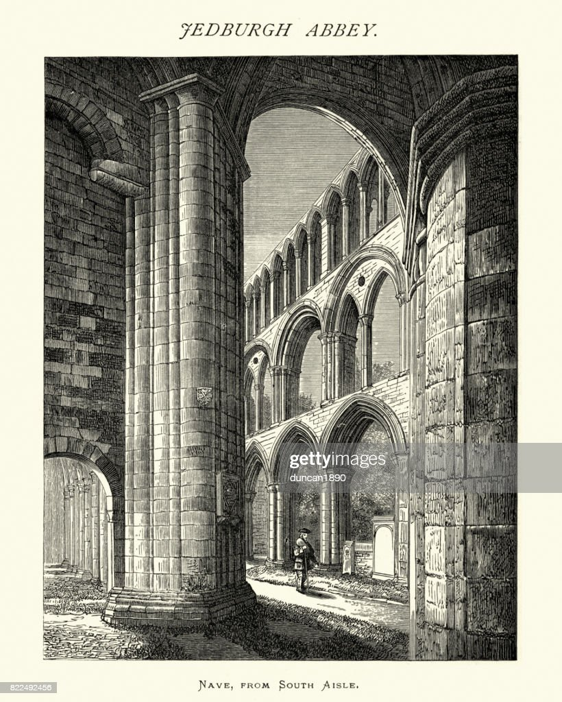 Jedburgh Abbey, Nave South Aisle, Scotland, 19th Century : stock illustration