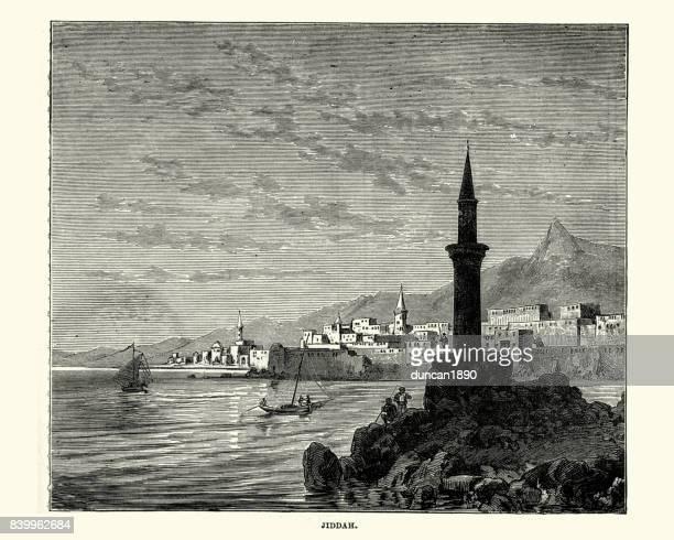 jeddah, saudi arabi, 19th century - jiddah stock illustrations