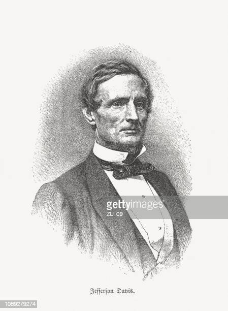 jefferson davis (1808-1889), only president of the confederate states (1861-1865) - confederate army stock illustrations