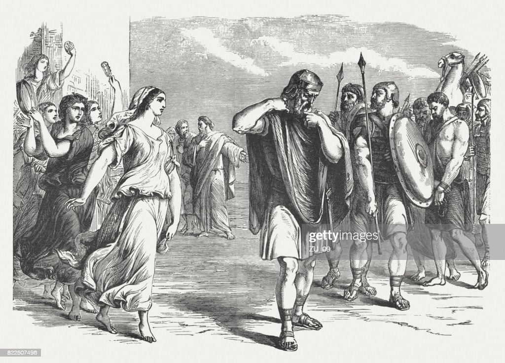 Jephthah's vow (Judges 11, 32-38), wood engraving, published in 1886 : stock illustration