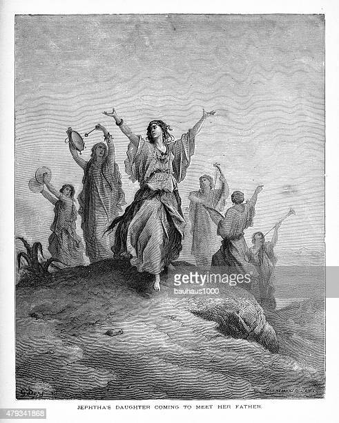 Jephtha's Daughter Coming to Meet Her Father Biblical Engraving
