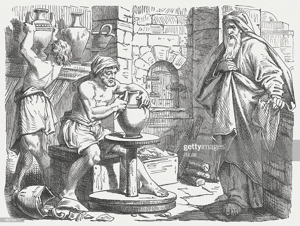 Jeremiah at the potter (Jeremiah 18), wood  engraving, published 1877 : Stock Illustration