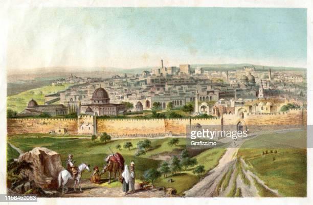 bildbanksillustrationer, clip art samt tecknat material och ikoner med jerusalem stad sett från mount of olives 1885 - synagoga