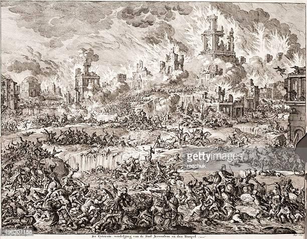 illustrations, cliparts, dessins animés et icônes de jérusalem détruite, bibleic scène de jan luyken 1700 - protestantisme