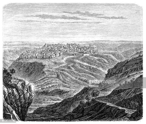 jerusalem in the time of david and solomon - mount of olives stock illustrations