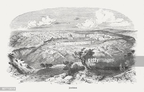 jerusalem, wood engraving, published in 1882 - historical palestine stock illustrations