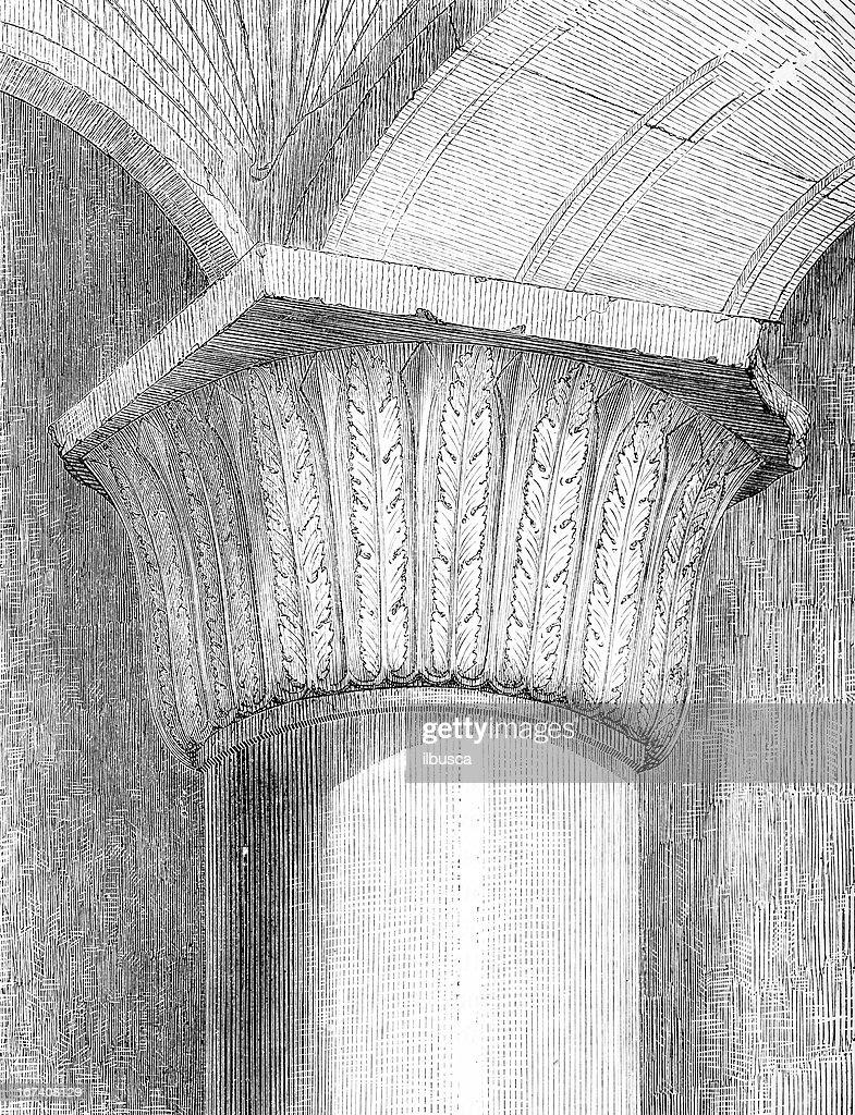 Tempio di Gerusalemme colonna capitale : Illustrazione stock