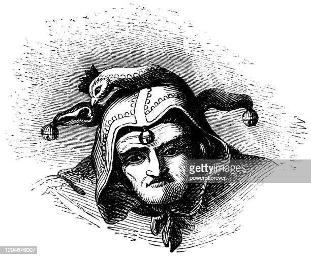 jester hat with cockscomb - 16th century - hood clothing stock illustrations