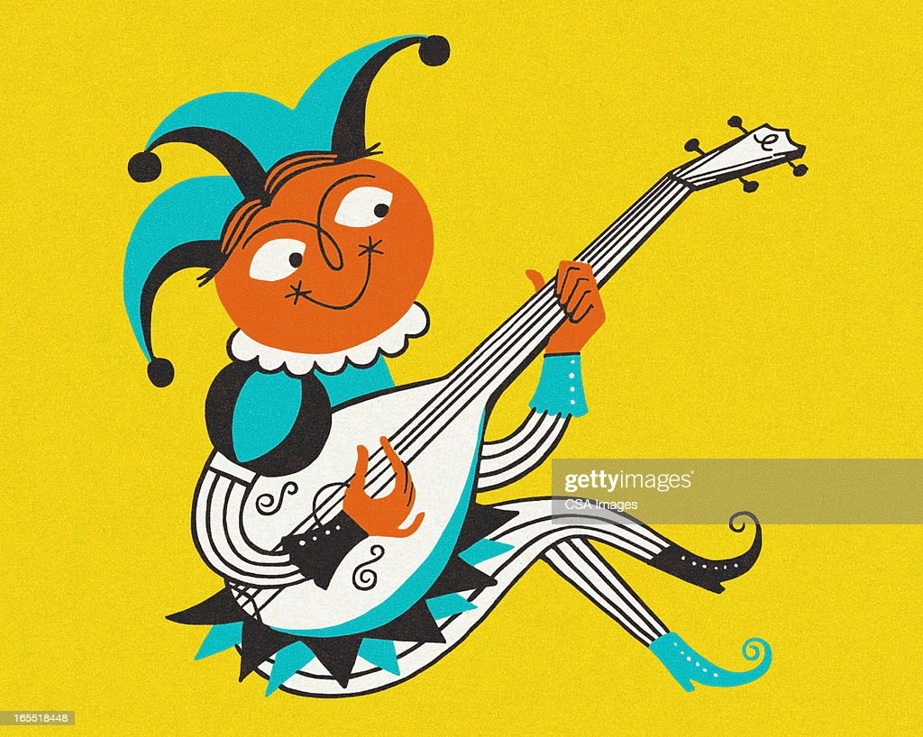 Jester Playing an Instrument : Stock Illustration