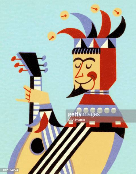 jester playing lute - jester stock illustrations, clip art, cartoons, & icons