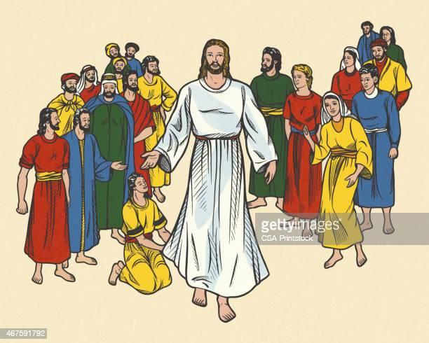 stockillustraties, clipart, cartoons en iconen met jesus among a group of people - gelovige