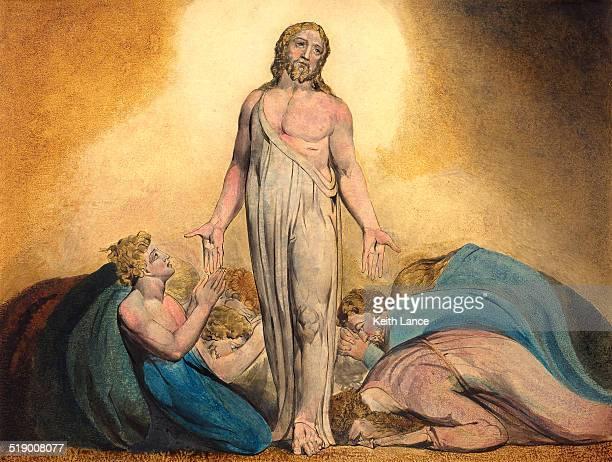 jesus und disciples nach die auferstehung christi - jesus resurrection stock-grafiken, -clipart, -cartoons und -symbole