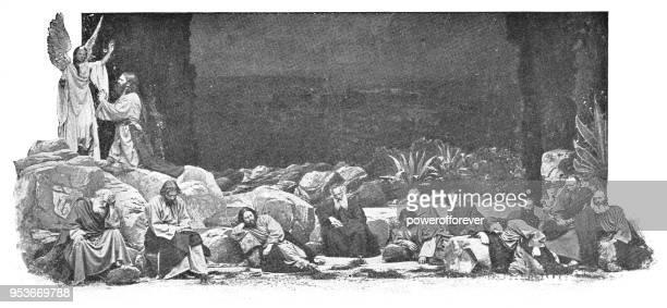 イエスと弟子たち - ドイツのオーバーアマガウのキリスト受難劇、19 世紀中にゲッセマネの園で