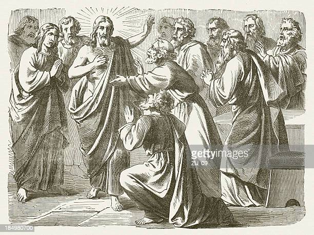 jesus and doubting thomas (john 20), wood engraving, published 1877 - following stock illustrations