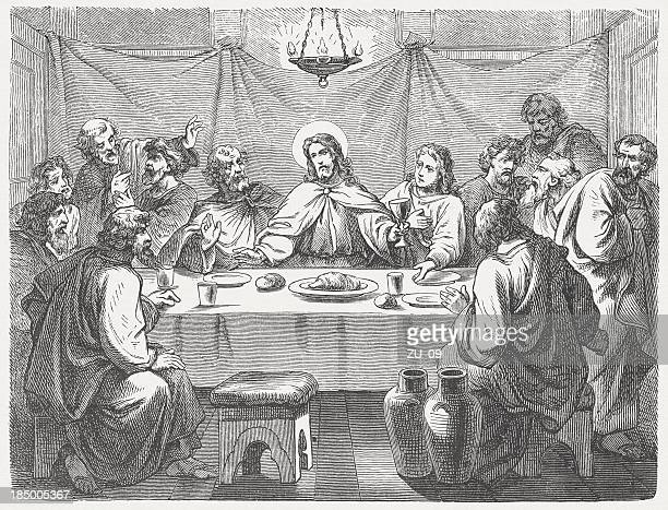 jesus and his disciples at the last supper, published 1877 - new testament stock illustrations
