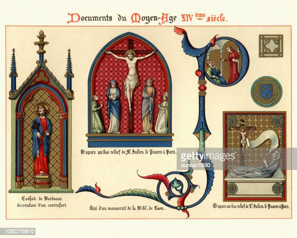 jesus and saints, medieval decorative art, illuminated manuscripts 14th century - manuscript stock illustrations