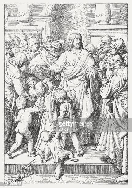 Jesus and the children (Psalm 8, 2), woodcut, published 1876