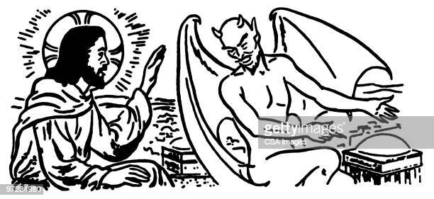 jesus and the devil - heaven stock illustrations