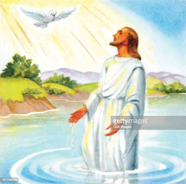 jesus and the dove - baptism stock illustrations