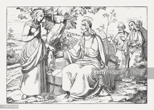 jesus and the samaritan woman (john 4), woodcut, published 1850 - prayer book stock illustrations