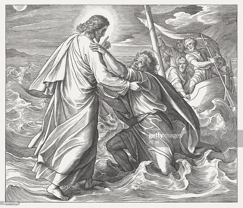 Jesus and the sinking Peter (Matthew 14), published in 1860 : stock illustration