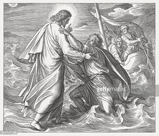 ilustrações de stock, clip art, desenhos animados e ícones de jesus e o naufrágio peter, madeira, publicada em 1860 (kit 1 - st. peter's basilica the vatican
