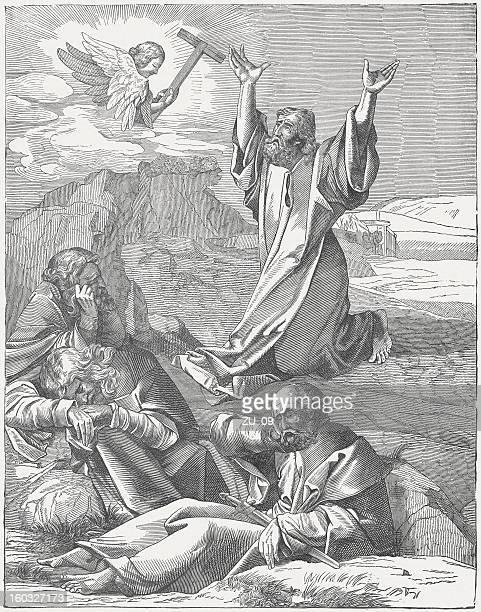 jesus and the sleeping disciples in gethsemane, albrecht dürer - mount of olives stock illustrations