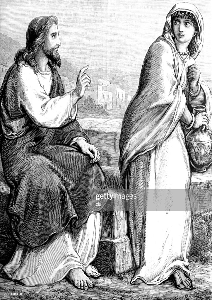 Jesus and the woman of Samaria at the well : stock illustration