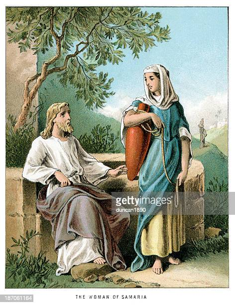 jesus and the woman of samaria - jesus christ stock illustrations, clip art, cartoons, & icons