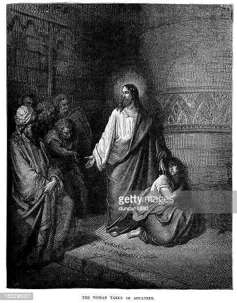jesus and the woman taken in adultery - gustave dore stock illustrations, clip art, cartoons, & icons