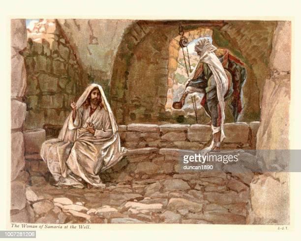 jesus und die frau aus samaria am brunnen - james tissot stock-grafiken, -clipart, -cartoons und -symbole