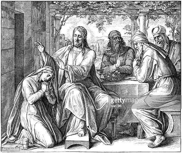 ilustraciones, imágenes clip art, dibujos animados e iconos de stock de jesús anointed de tentadores mujer - los siete pecados capitales