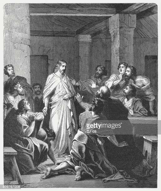 jesus' appearance to the disciples (john 20, 19-20), published 1886 - jesus christ stock illustrations, clip art, cartoons, & icons