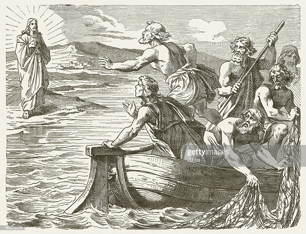 Jesus' Appearance to the Disciples (John 21), published in 1877 : Stock Illustration
