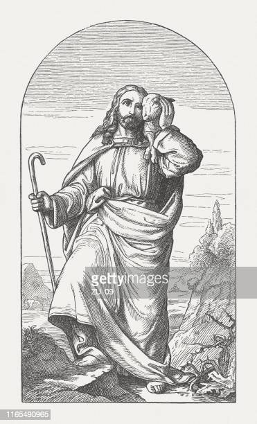 jesus as the good shepherd, wood engraving, published in 1895 - shepherd stock illustrations