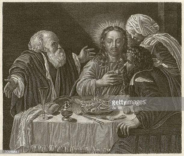illustrazioni stock, clip art, cartoni animati e icone di tendenza di jesús in emmaus-caravaggio (1571-1610 - michelangelo merisi da caravaggio