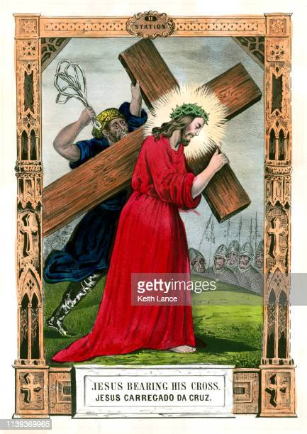 jesus bears his cross - cross shape stock illustrations