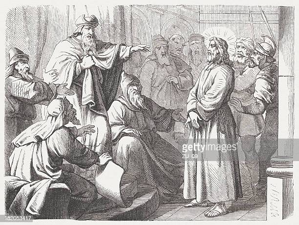 jesus before caiaphas (matthew 26, 57-68), wood engraving, published 1877 - holy week stock illustrations, clip art, cartoons, & icons