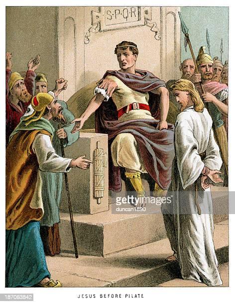 jesus before pontius pilate - governor stock illustrations, clip art, cartoons, & icons