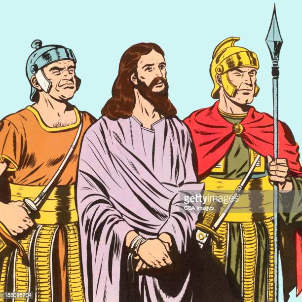 jesus being held by two soldiers - religious dress stock illustrations, clip art, cartoons, & icons