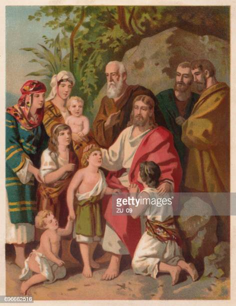 jesus bless the children (matthew 19, 13-15), chromolithograph, published 1886 - jesus christ stock illustrations, clip art, cartoons, & icons