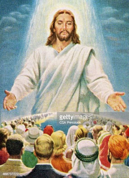 stockillustraties, clipart, cartoons en iconen met jesus blessing people in the world - gelovige