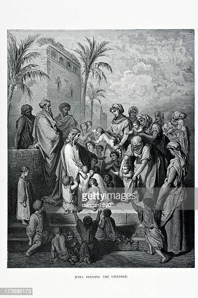 jesus blessing the children - anglican stock illustrations