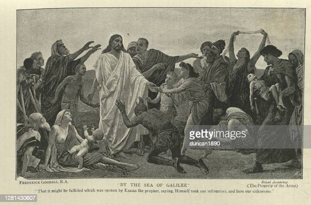 jesus by the sea of galilee, after frederick goodall - new testament stock illustrations