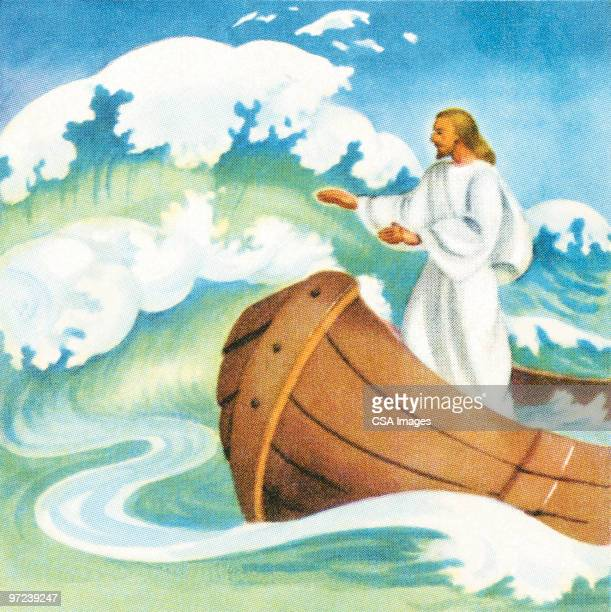 jesus calming the waves - jesus calming the storm stock illustrations