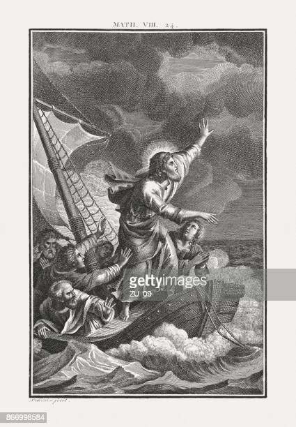 jesus calms the storm (matthew 8), copperplate engraving, published c.1850 - jesus calming the storm stock illustrations