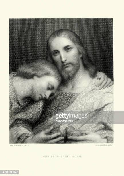 ilustraciones, imágenes clip art, dibujos animados e iconos de stock de jesus christ y saint john - san juan bautista