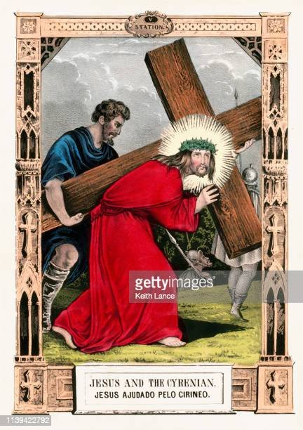 jesus christ and the cyrenian - stations of the cross stock illustrations